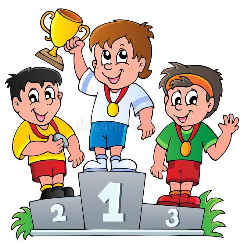 Kreskówki zwycięzców podium ilustracji