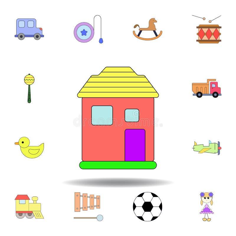 Kresk?wka domu zabawki barwiona ikona set dziecko zabawek ilustracji ikony znaki, symbole mogą używać dla sieci, logo, mobilny ap ilustracja wektor