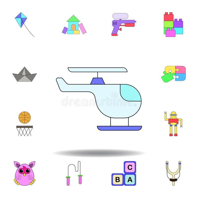 Kresk?wka helikopteru zabawki barwiona ikona set dziecko zabawek ilustracji ikony znaki, symbole mogą używać dla sieci, logo, mob royalty ilustracja