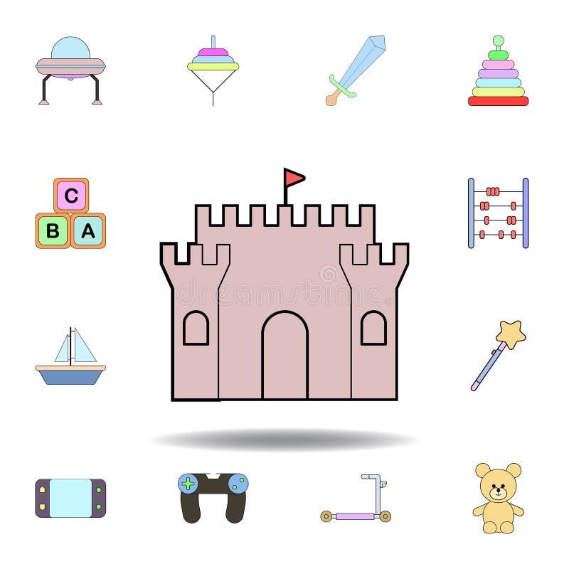 Kresk?wka piaska kasztelu zabawki barwiona ikona set dziecko zabawek ilustracji ikony znaki, symbole mogą używać dla sieci, logo, ilustracja wektor