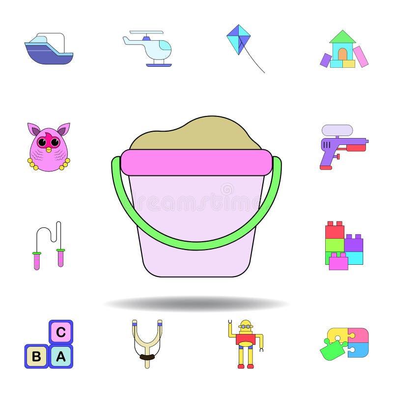 Kresk?wka piaska zabawki barwiona ikona set dziecko zabawek ilustracji ikony znaki, symbole mogą używać dla sieci, logo, mobilny  royalty ilustracja