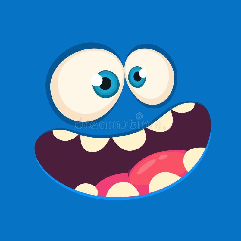 Kresk?wka potwora gniewna twarz Wektorowy Halloweenowy błękitny potwora wrzask ilustracji