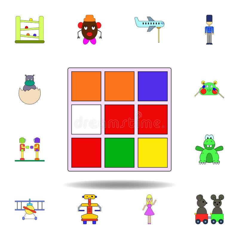 Kresk?wka sze?cianu zabawki barwiona ikona set dziecko zabawek ilustracji ikony znaki, symbole mogą używać dla sieci, logo, mobil ilustracja wektor