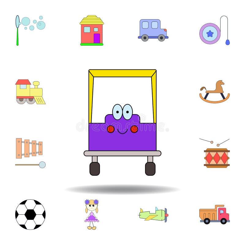 Kresk?wka u?miechu samochodowej zabawki barwiona ikona set dziecko zabawek ilustracji ikony znaki, symbole mogą używać dla sieci, ilustracji