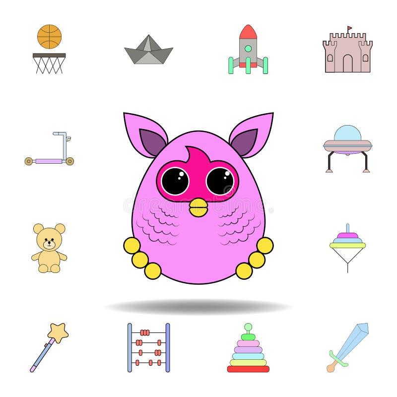 Kresk?wki furby zabawki barwiona ikona set dziecko zabawek ilustracji ikony znaki, symbole mogą używać dla sieci, logo, mobilny a ilustracji