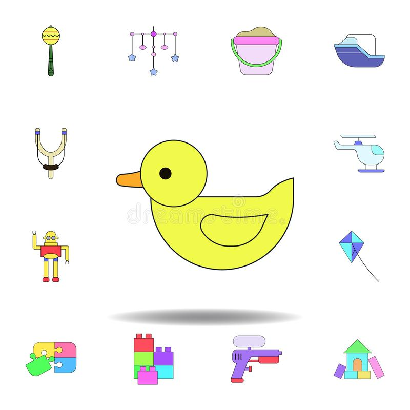 Kresk?wki kaczki zabawki barwiona ikona set dziecko zabawek ilustracji ikony znaki, symbole mogą używać dla sieci, logo, mobilny  royalty ilustracja