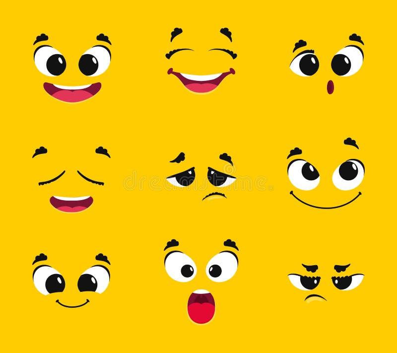 kresk?wki kolekcji twarze R ilustracja wektor