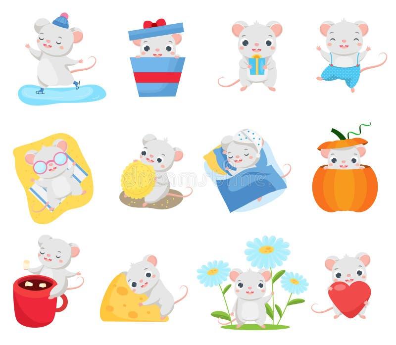 Kresk?wki myszy set Śliczni szczury w różnych pozach Duża kolekcja śmieszny ślepuszonki zwierzę dla 2020 chińskich nowy rok powit royalty ilustracja