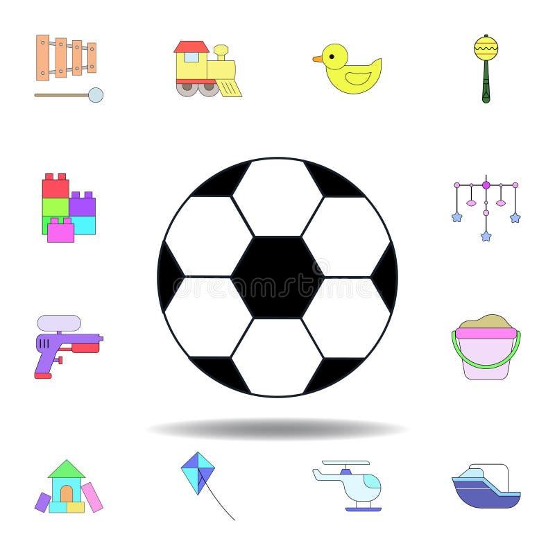 Kresk?wki pi?ki zabawki barwiona ikona set dziecko zabawek ilustracji ikony znaki, symbole mogą używać dla sieci, logo, mobilny a royalty ilustracja