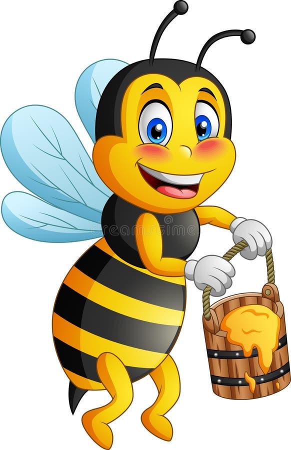 Kresk?wki pszczo?a niesie mi?d royalty ilustracja