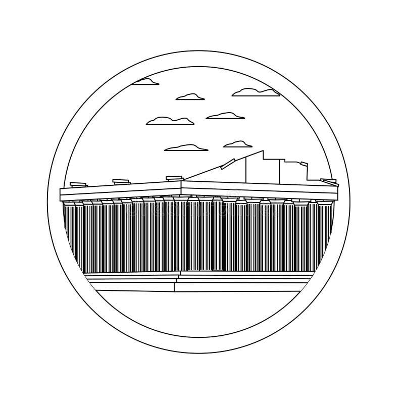 Kreskowa średniowieczna Athens architektura i ładny krajobraz ilustracji
