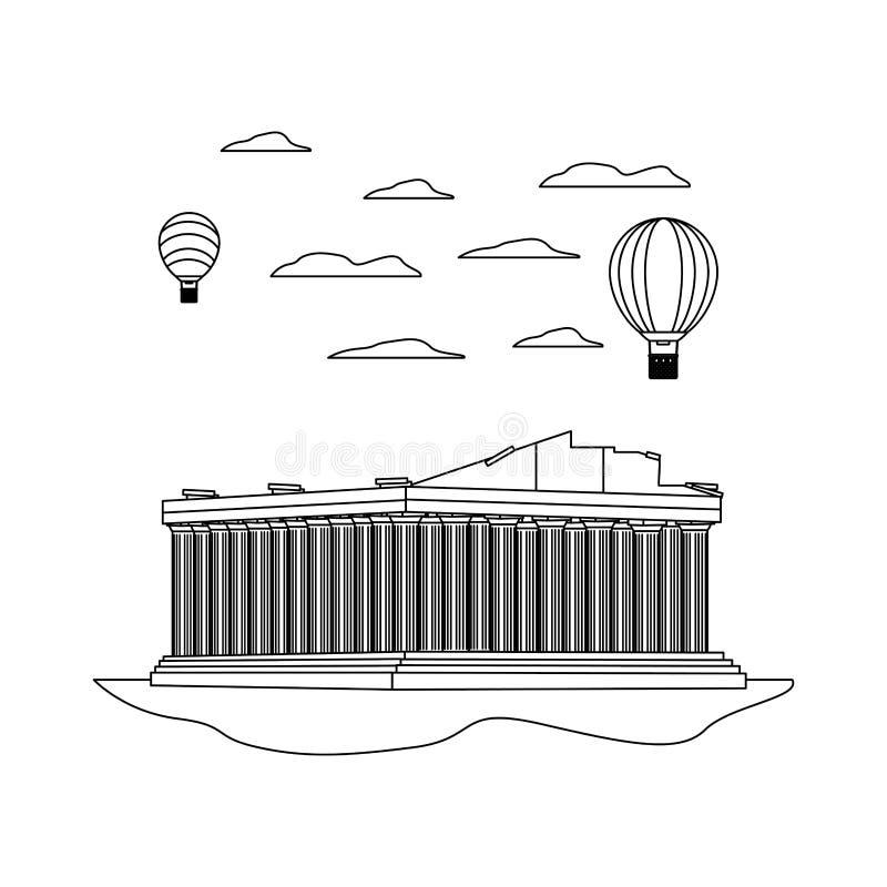 Kreskowa średniowieczna Athens architektura i lotniczy balony ilustracji