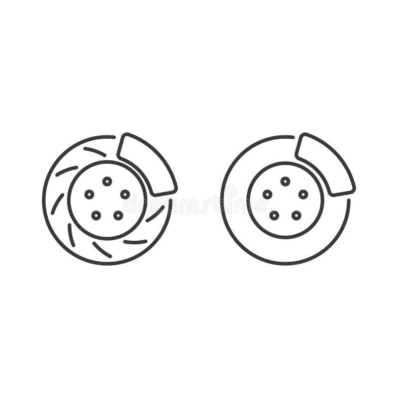 Kreskowa hamulcowa dyska czerni ikona na białym tle royalty ilustracja