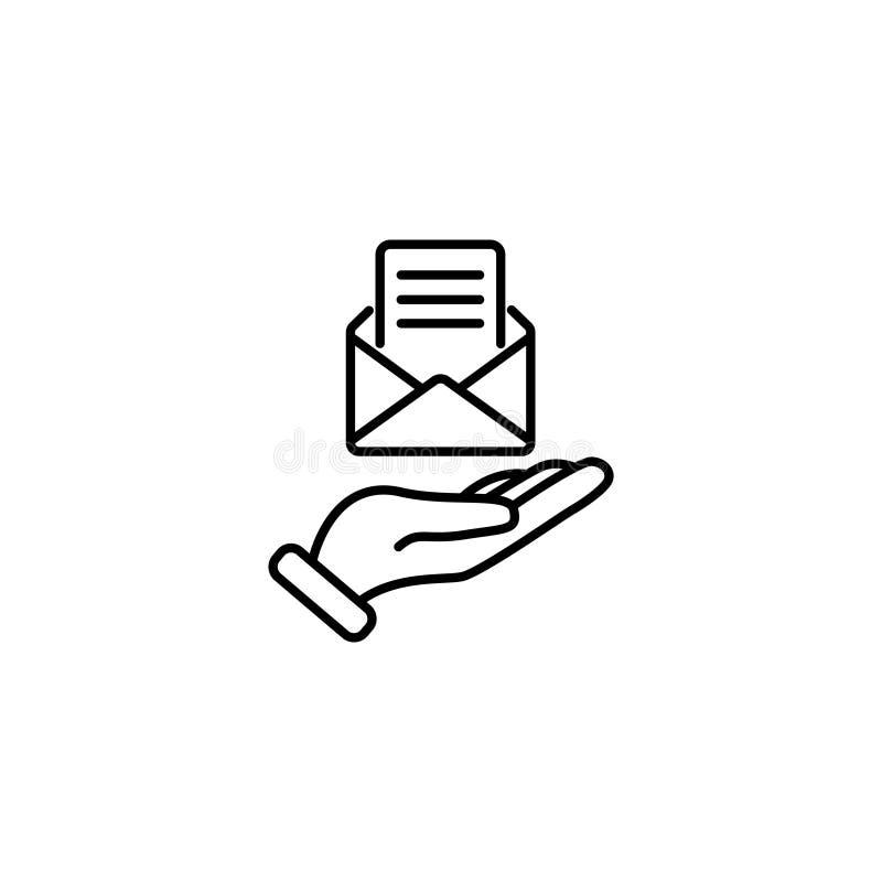 Kreskowa ikona Emaila otwarty lettter w ręce royalty ilustracja