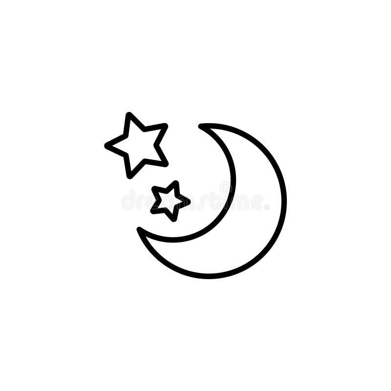 Kreskowa ikona eps jpg księżycu, gwiazdach ilustracja wektor