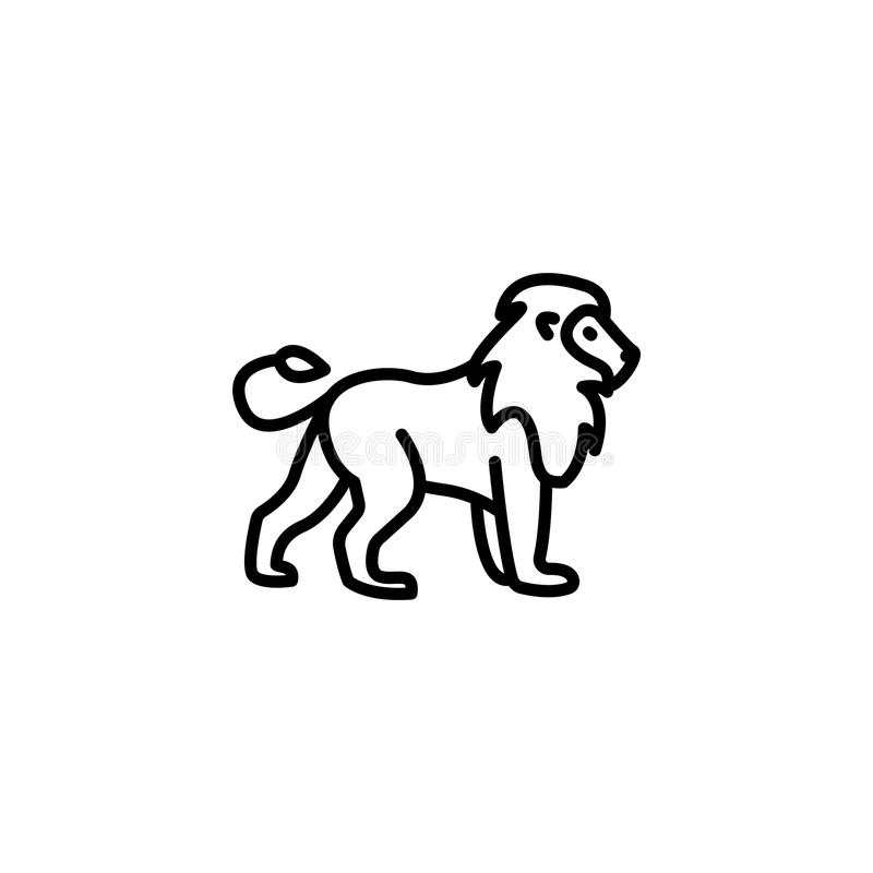 Kreskowa ikona Lew; dzikie zwierzęta ilustracja wektor