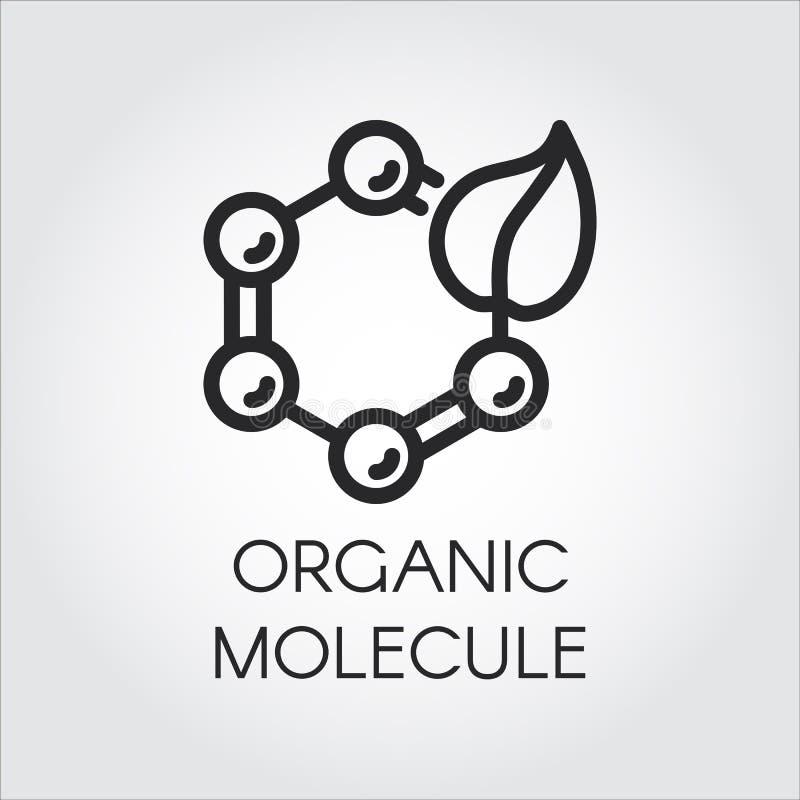 Kreskowa ikona liść i cząsteczkowa mieszanka symbolizuje organicznie technologię Prostota czarny emblemat kuli ziemskiej loga wek royalty ilustracja