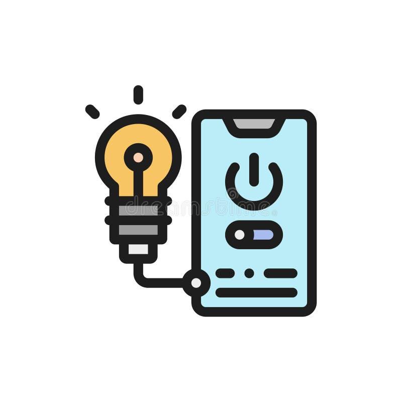 Kreskowa ikona telefonu kontrola Pojęcie elektryczności zarządzanie ilustracja wektor