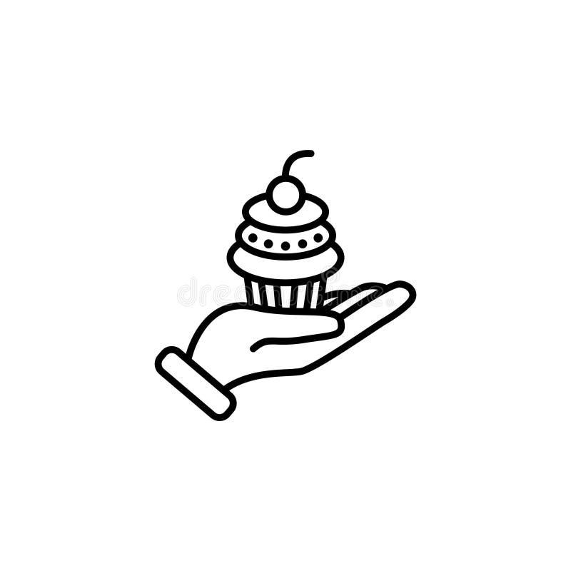 Kreskowa ikona Tortowy deser w ręce ilustracja wektor