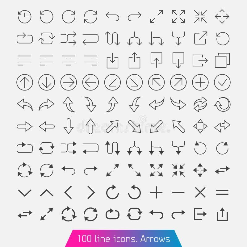100 kreskowa ikona ustawiająca - strzała. ilustracji
