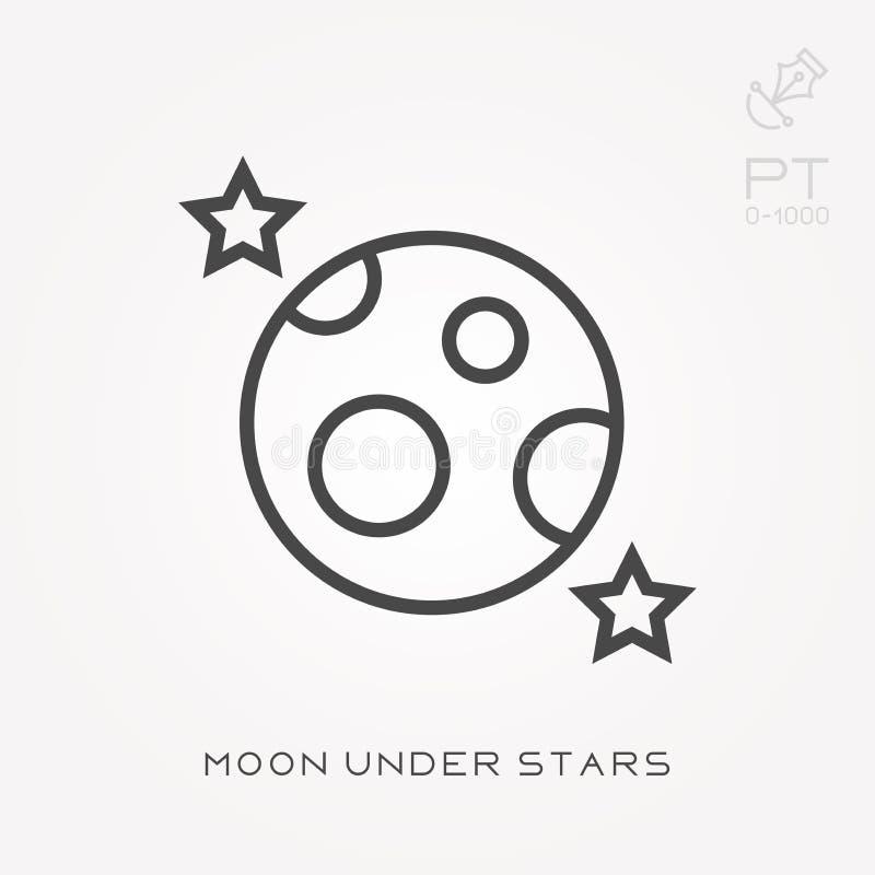 Kreskowa ikony księżyc pod gwiazdami ilustracji
