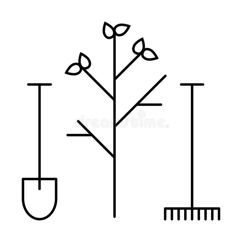 Kreskowa ikony narzędzia łopata i świntuch ilustracji