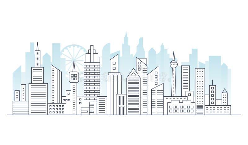 Kreskowa nowożytna miastowa duża miasto panorama z koloru budynkiem na tle Konturu uderzenia pejzażu miejskiego drapacz chmur wek ilustracji