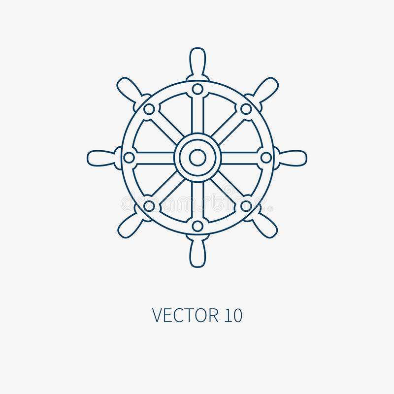 Kreskowa płaska wektorowa błękitna morska ikona z nautycznymi projektów elementami - kierownica Kreskówka styl ilustracja i ilustracja wektor