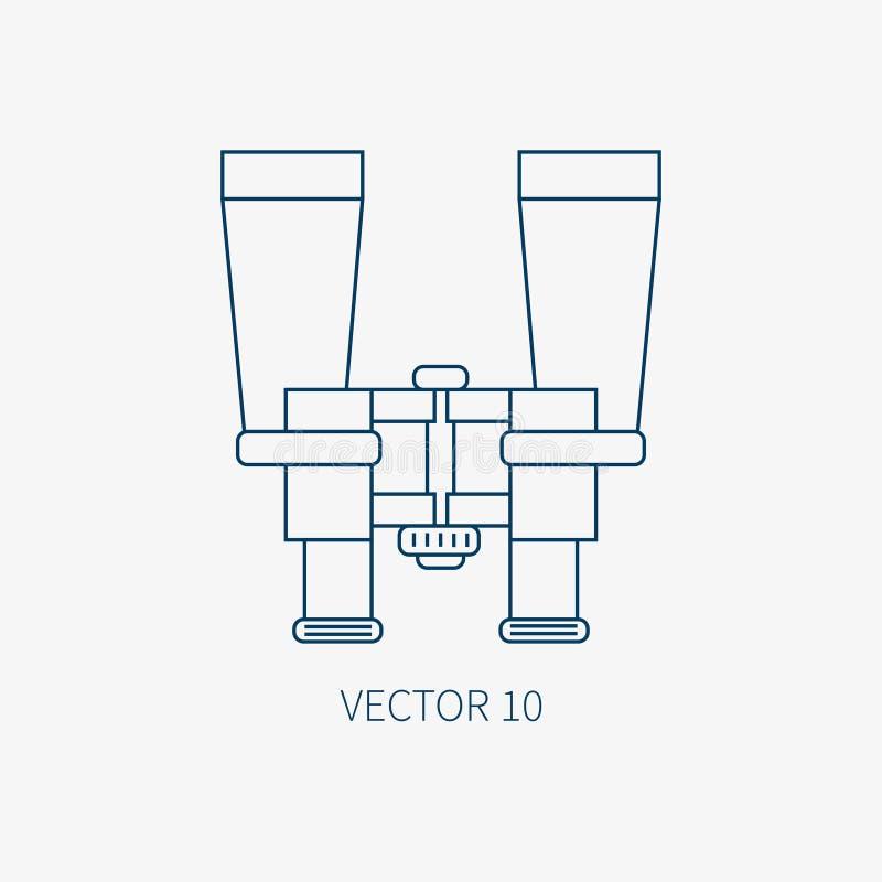 Kreskowa płaska wektorowa błękitna morska ikona z nautycznymi projektów elementami - lornetki Kreskówka styl Ilustracja i element ilustracja wektor