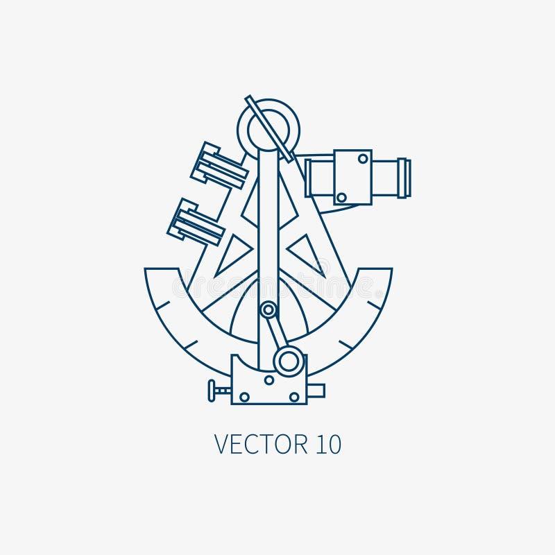 Kreskowa płaska wektorowa błękitna morska ikona z nautycznymi projektów elementami - retro sextant Kreskówka styl Ilustracja i el ilustracji