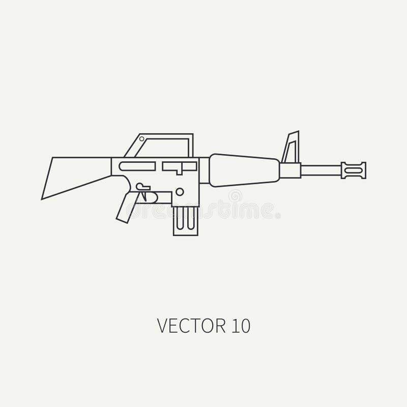 Kreskowa płaska wektorowa militarna ikona - maszynowy pistolet Wojsko bronie i wyposażenie Kreskówka styl arne napad żołnierze ilustracja wektor