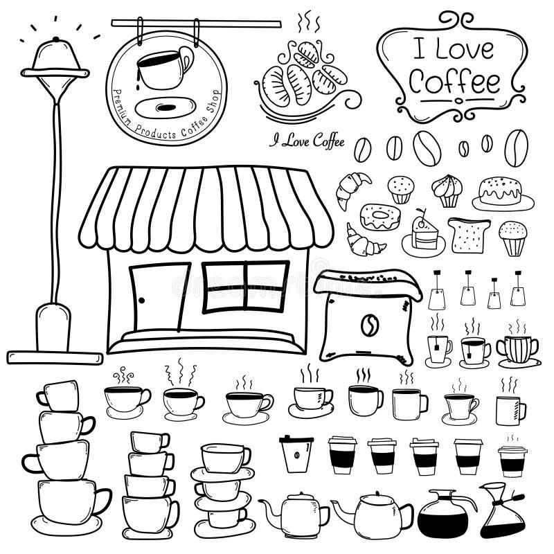 Kreskowa ręka Rysujący Doodle Wektorowy Ustawiający sklep z kawą ilustracja wektor