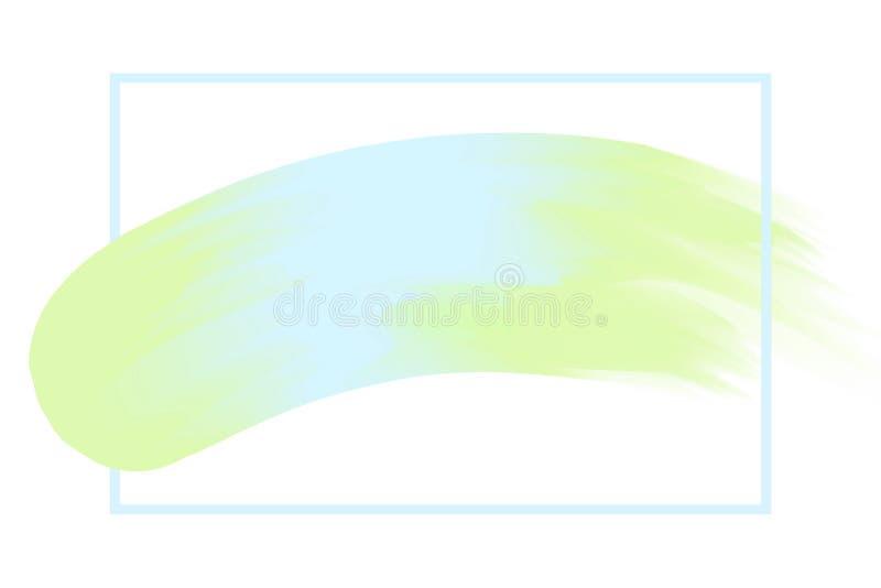 Kreskowa rama i muśnięcie malująca akwareli tła pastelowa miękka część błękitnego i zielonego, sztuki farby muśnięcia tekstury ud royalty ilustracja