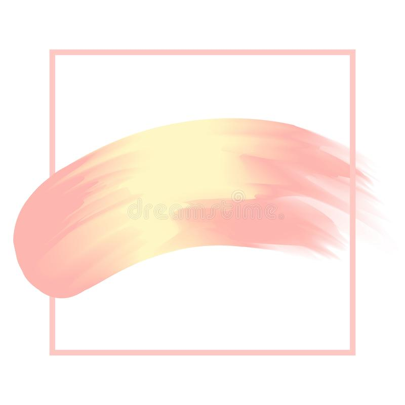 Kreskowa rama i muśnięcie malująca akwareli tła pastelowa miękka część koloru żółtego i menchii, sztuki farby muśnięcia tekstury  ilustracja wektor