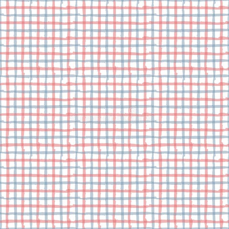 Kreskowa remisu gingham czerwień, błękit, biały bezszwowy wielostrzałowy wzór T ilustracja wektor