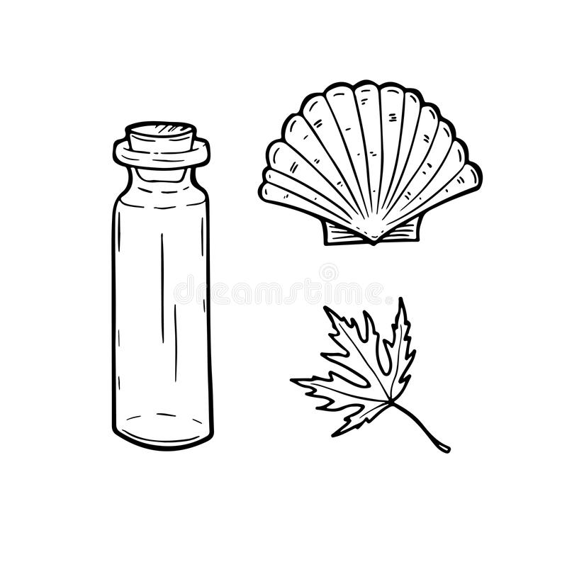 Kreskowa sztuka ustawiająca z butelką, seashell i liściem, również zwrócić corel ilustracji wektora ilustracji