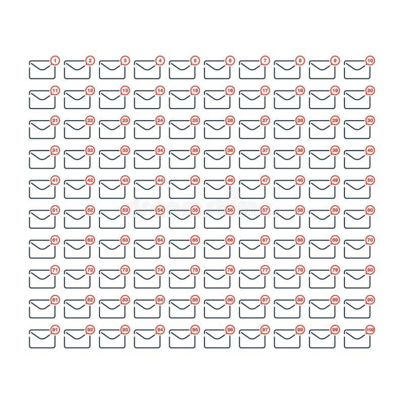 Kreskowa sztuka 1, 100 W górę ikona setu wiadomości i poczta ilustracja wektor