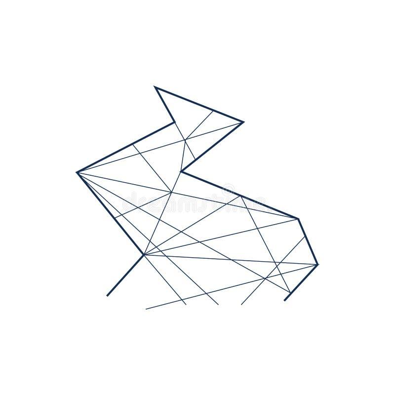 Kreskowa sztuka Wektorowy abstrakcjonistyczny symbol rzeka Liniowa ikona ilustracja wektor