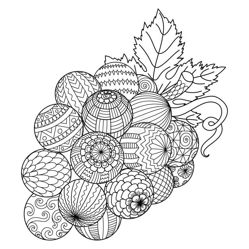 Kreskowa sztuka wiązka winogrono dla drukować dalej faszeruje i dorosła kolorystyki książka lub kolorystyki strona r?wnie? zwr?ci ilustracja wektor