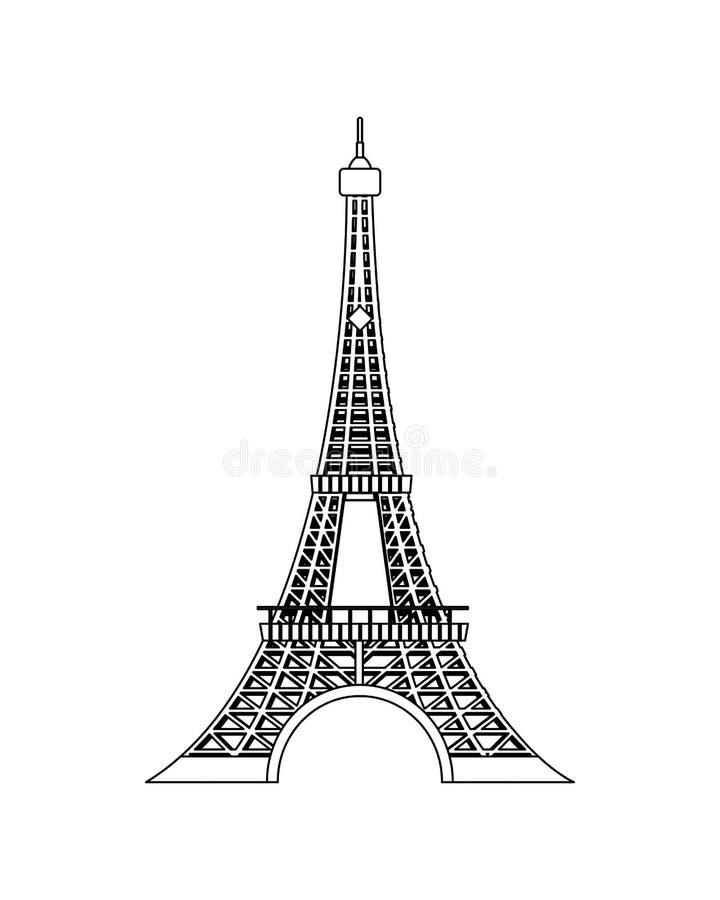 Kreskowa wieży eiflej piękna architektura w Paris royalty ilustracja