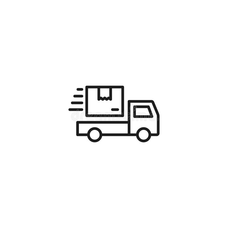 Kreskowa wysyłki ciężarówki ikona na białym tle ilustracji