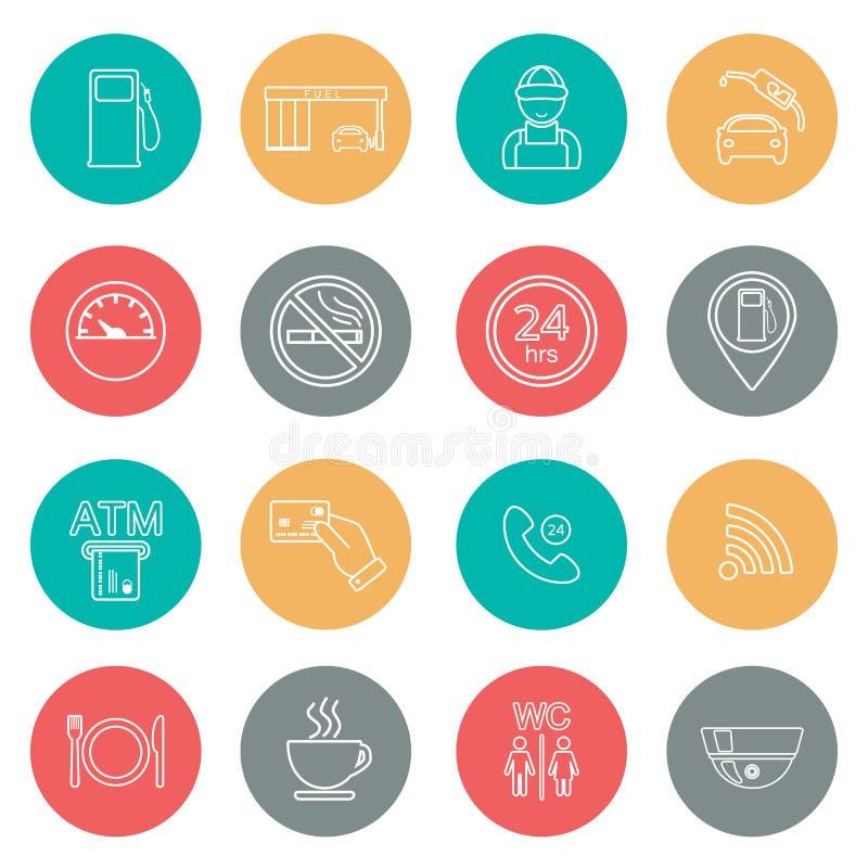 Kreskowe benzynowej staci ikony guzików ikon usługowa sieć wektor royalty ilustracja