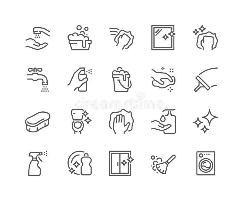 Kreskowe Cleaning ikony ilustracji