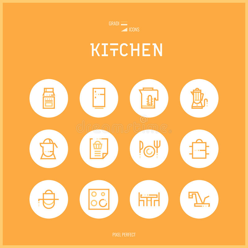 Kreskowe colorfuul ikony ustawiają kolekcję kuchnia i Kulinarni Foods royalty ilustracja