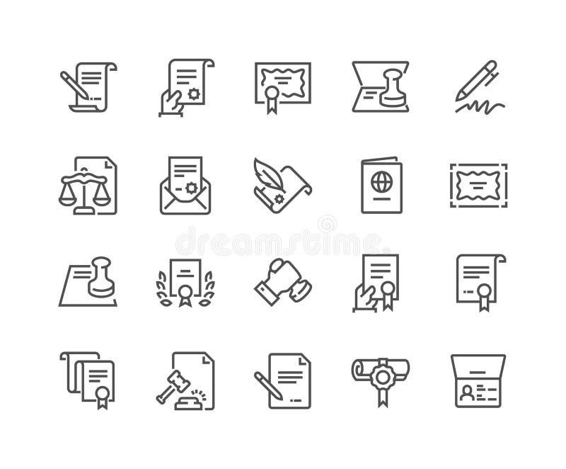 Kreskowe dokument prawny ikony ilustracji