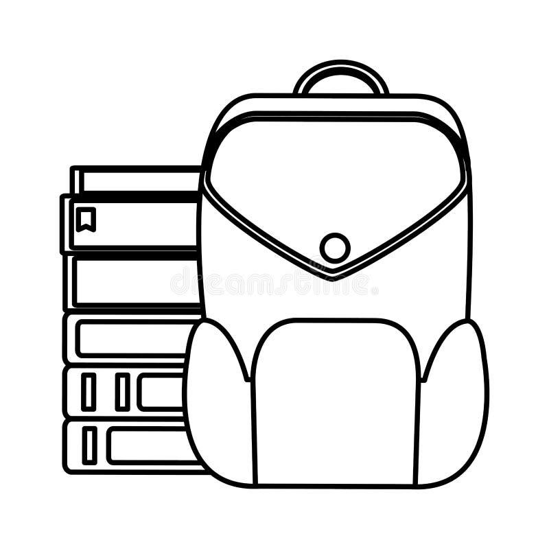 Kreskowe edukacji książki z plecak szkoły narzędziami ilustracji