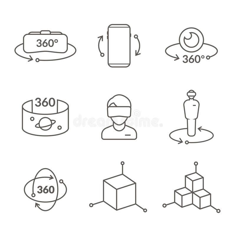Kreskowe ikony rzeczywistości wirtualnej innowaci technologie, AR szkła royalty ilustracja