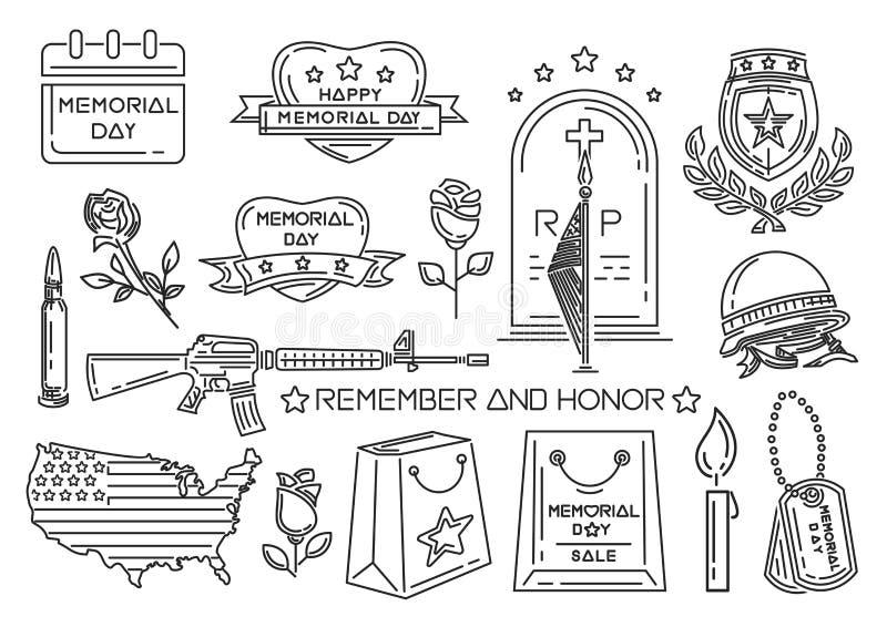 Kreskowe ikony ustawiać dla dnia pamięci w usa ilustracja wektor