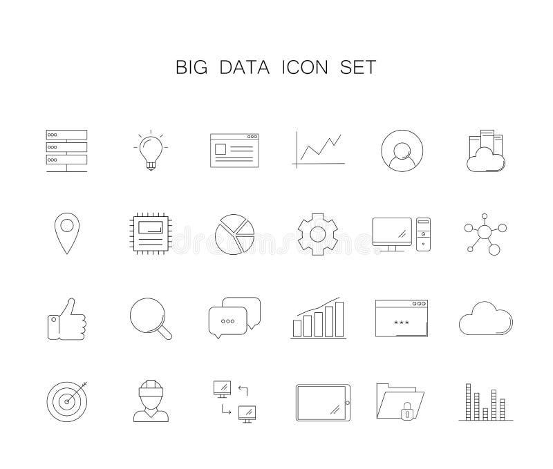 Kreskowe ikony ustawiać Duża dane paczka ilustracja wektor