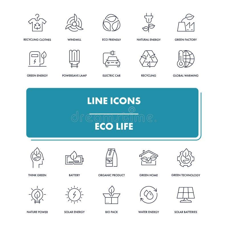 Kreskowe ikony ustawiać Eco życie ilustracji